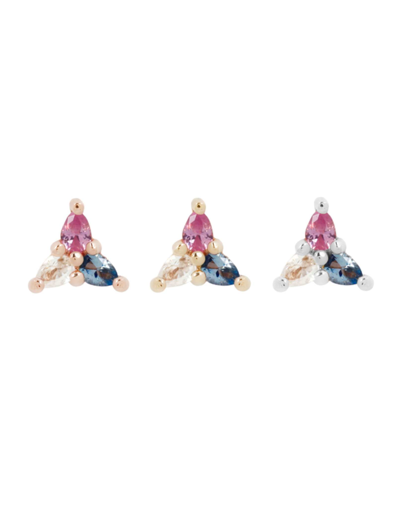 """Buddha Jewelry Organics Buddha Jewelry Organics """"3 Little Pears - Trans Awareness"""" press fit end with pink sapphire, London blue topaz, and white topaz"""