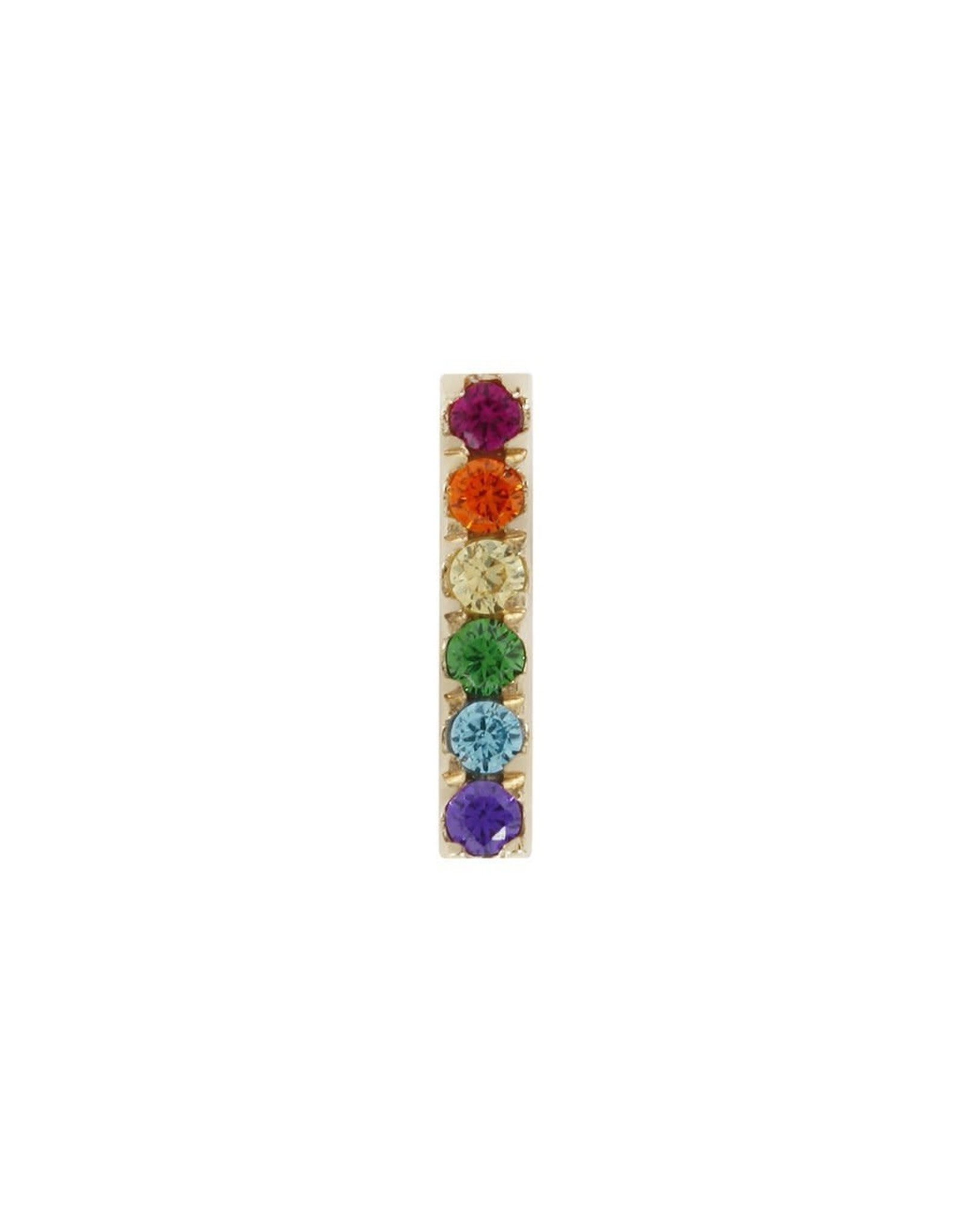 """Buddha Jewelry Organics Buddha Jewelry Organics solid 14 karat gold """"Rainbow Rowe """" press fit end with colored CZs"""