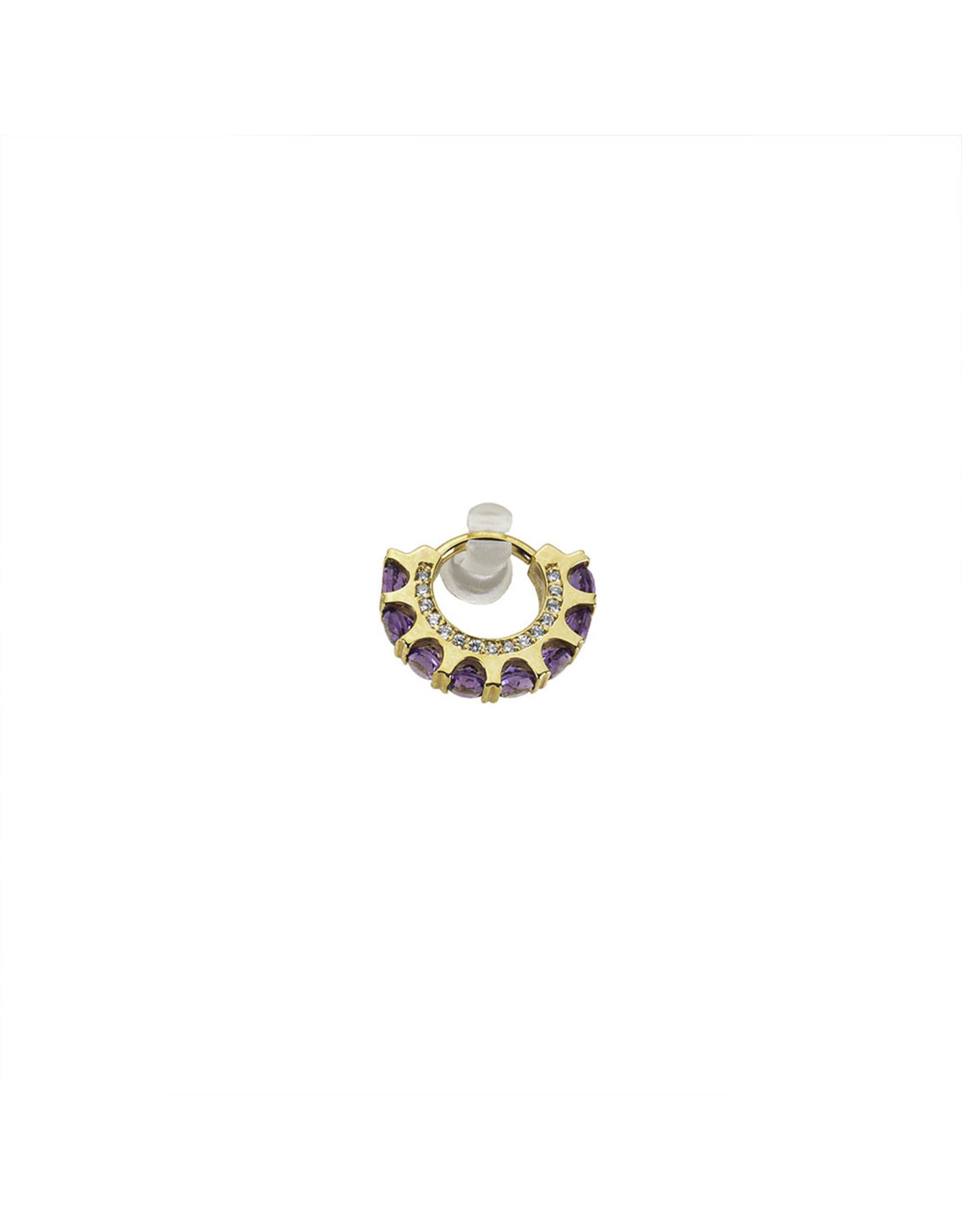 "BVLA BVLA 16g 5/16 rose gold ""Cirrus"" clicker with 8x 3.0 amethyst and 13x 1.0 VS1 diamonds"