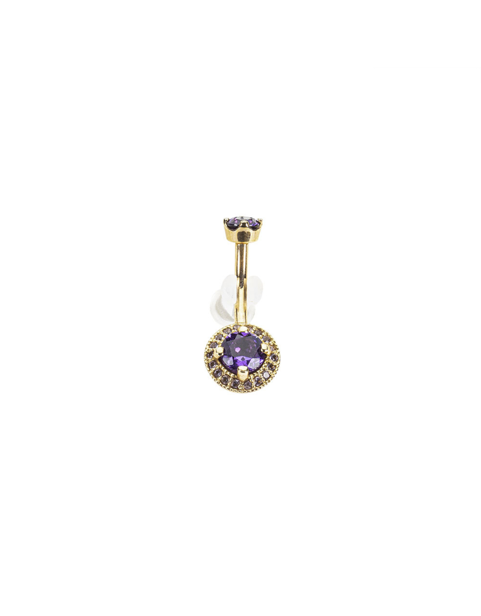 """BVLA BVLA 14g 3/8 rose gold """"Halo"""" navel curve with 4.0 prong set Amethyst top and a 5.0 amethyst center surrounded by 1.0 light amethyst"""