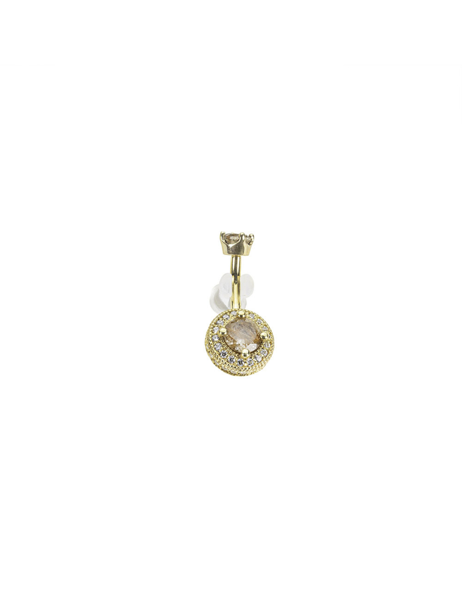 """BVLA BVLA 14g 3/8 yellow gold """"Halo"""" navel curve with 4.0 prong set rutilated quartz top and a 5.0 rutilated quartz center surrounded by 1.25 & 1.0 CZ"""