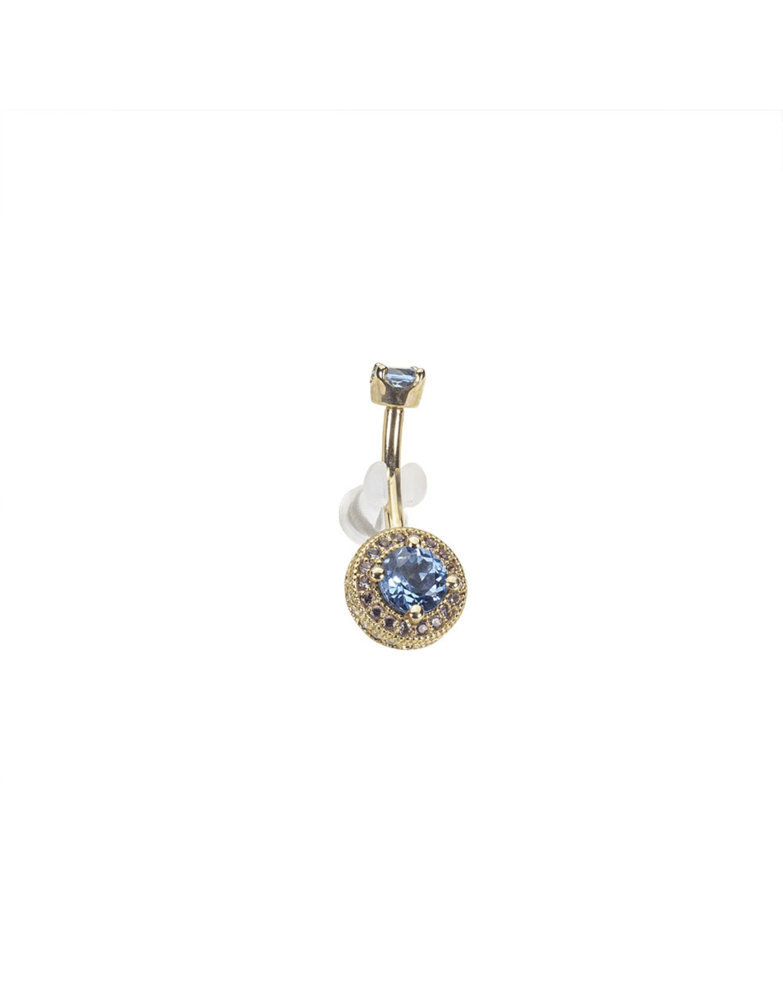 """BVLA BVLA 14g 3/8 rose gold """"Halo"""" navel curve with 4.0 prong set Swiss blue topaz top and a 5.0 Swiss blue topaz  center surrounded by 1.25 light amethyst & 1.0 CZ"""