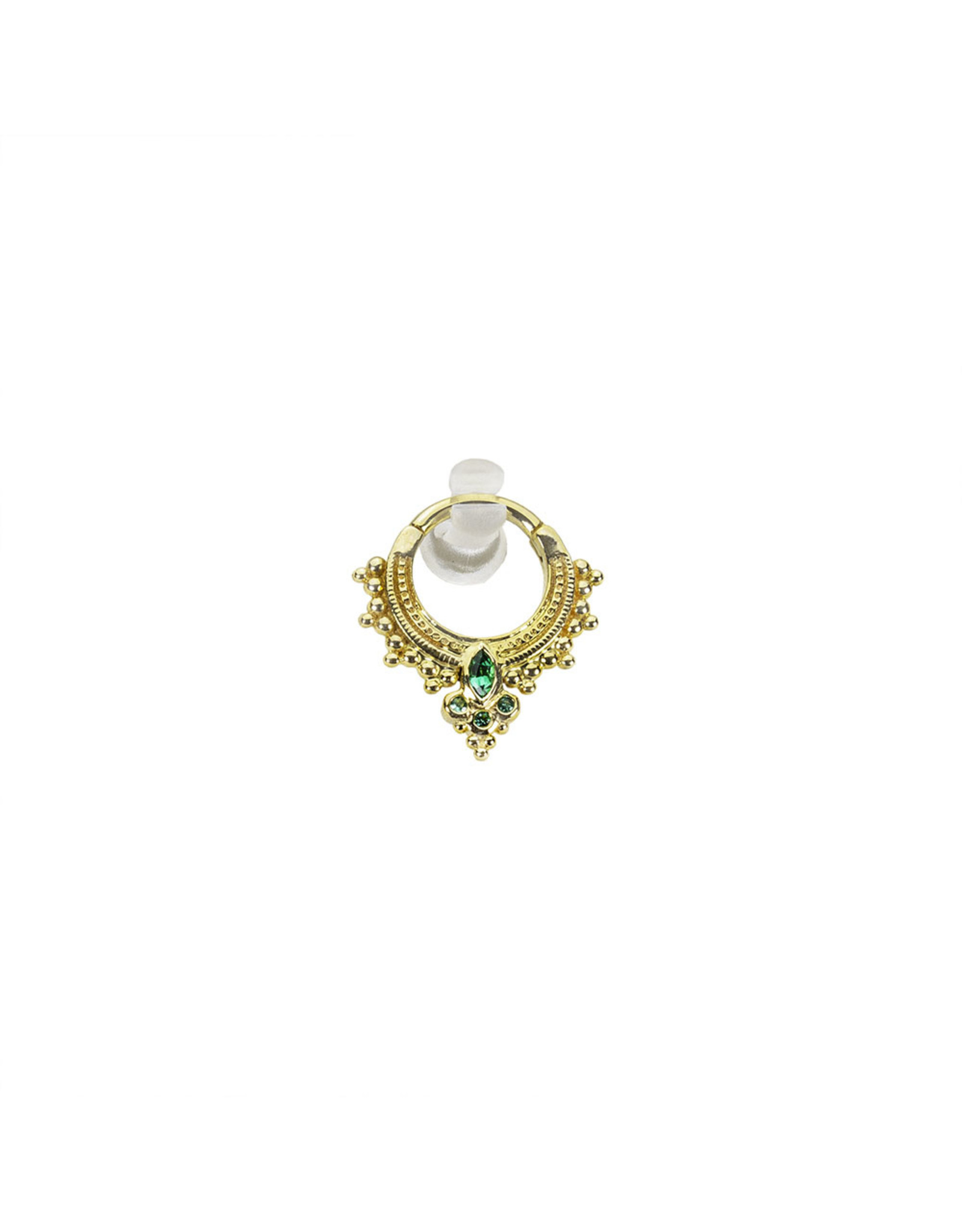 """BVLA BVLA 16g 5/16  """"Andromeda"""" clicker with 3x1.5 marquise AA Emerald center and three 1.0 bezel set AA emeralds"""