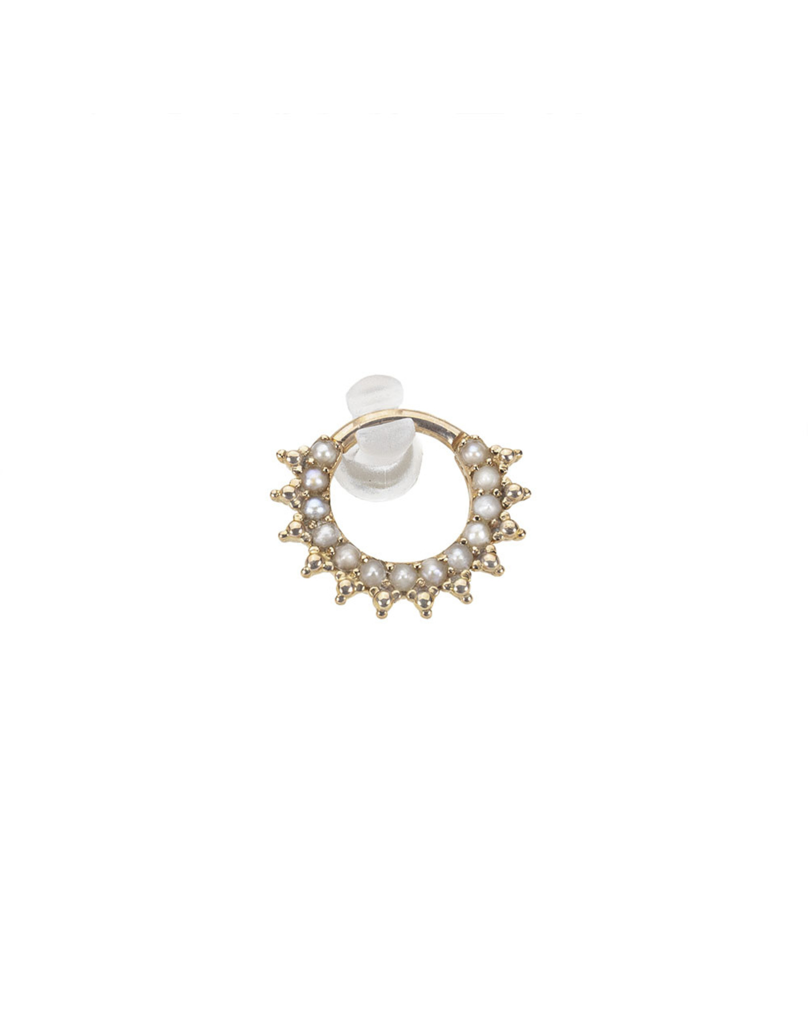 """BVLA BVLA 16g 5/16 rose gold """"Kolo"""" clicker with 13x 1.5 white pearls and gold bead accents"""