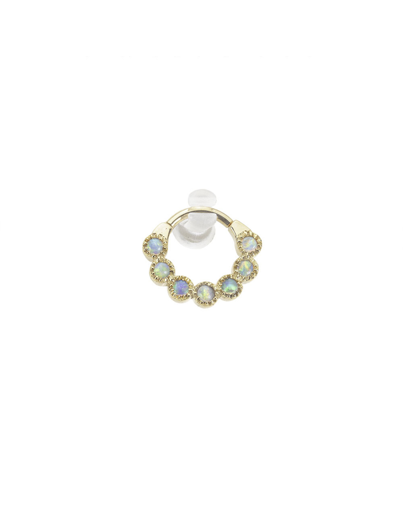 """BVLA BVLA 16g 5/16 rose gold """"Marina"""" clicker with 7x 2.0 AAA white opal"""