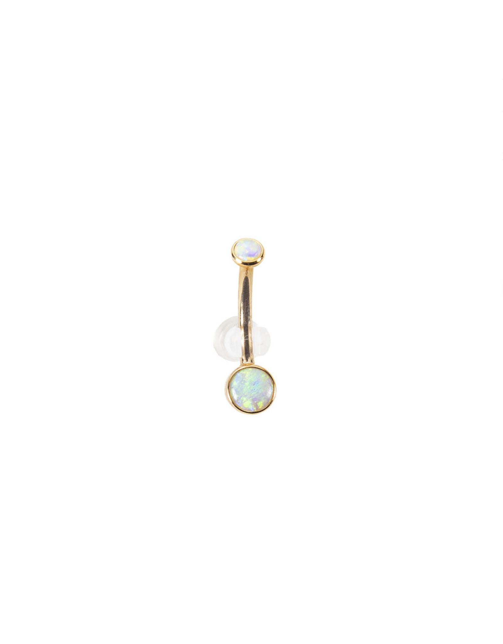 BVLA BVLA 14g 7/16 rose gold 3.0 & 5.0 bezel set AA white opal navel curve