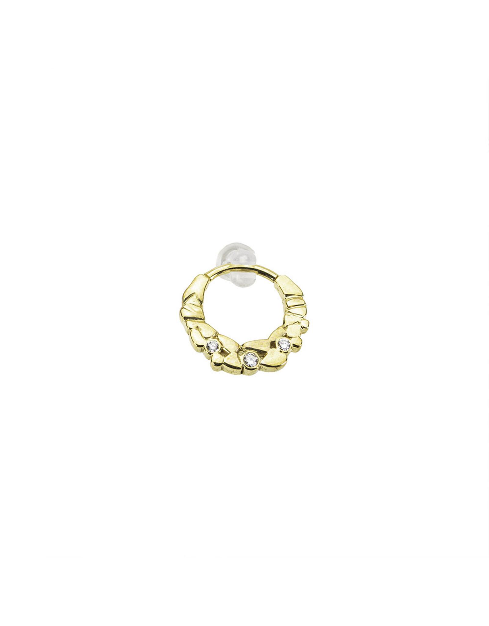 "BVLA BVLA 16g Yellow Gold ""Pebbles"" clicker with 3x VS1 diamonds"