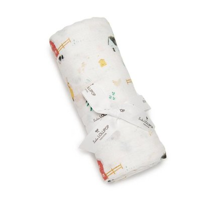 Loulou Lollipop Couverture mousseline - farm animals