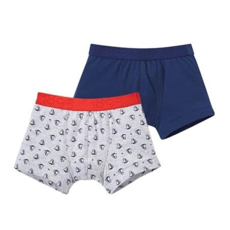 Petit Bateau Ens. 2 boxers - gris - marine -