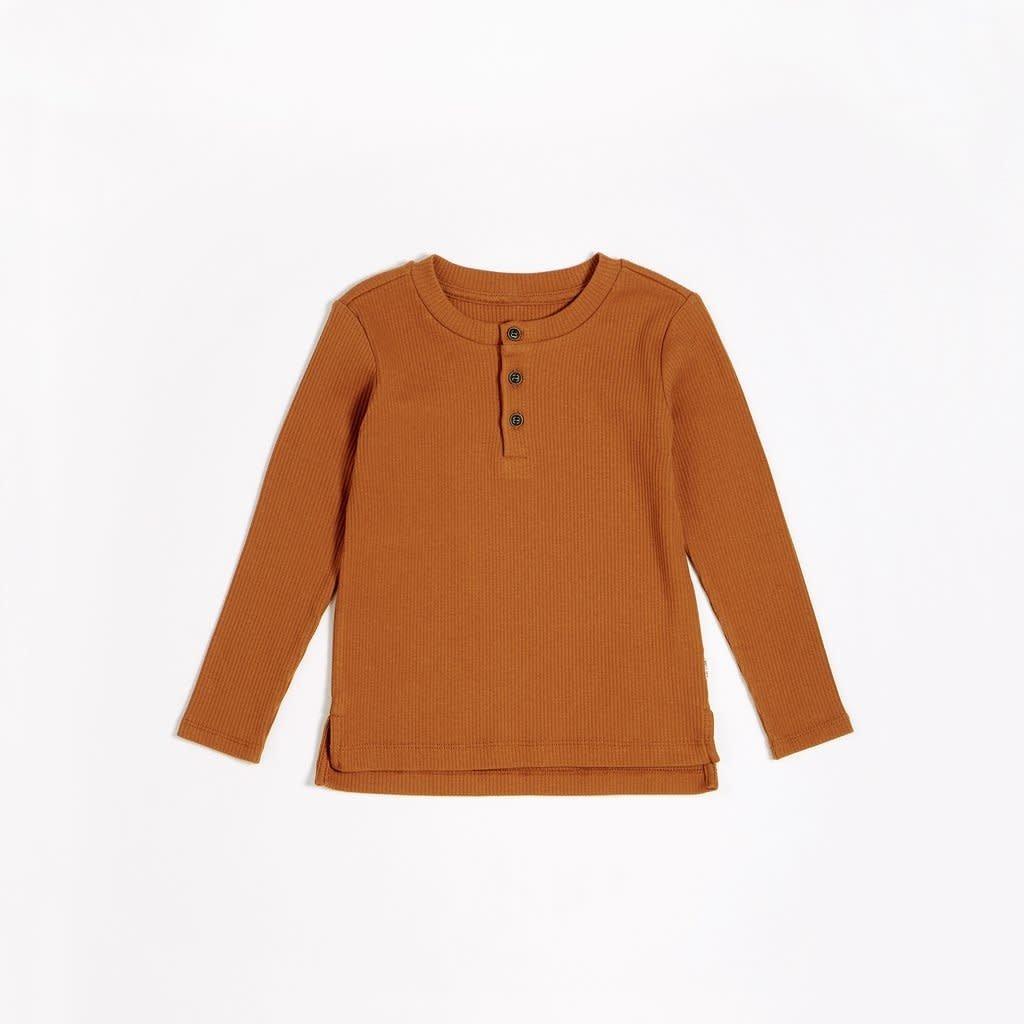 Petit Lem Chandail henley - brun automnal -