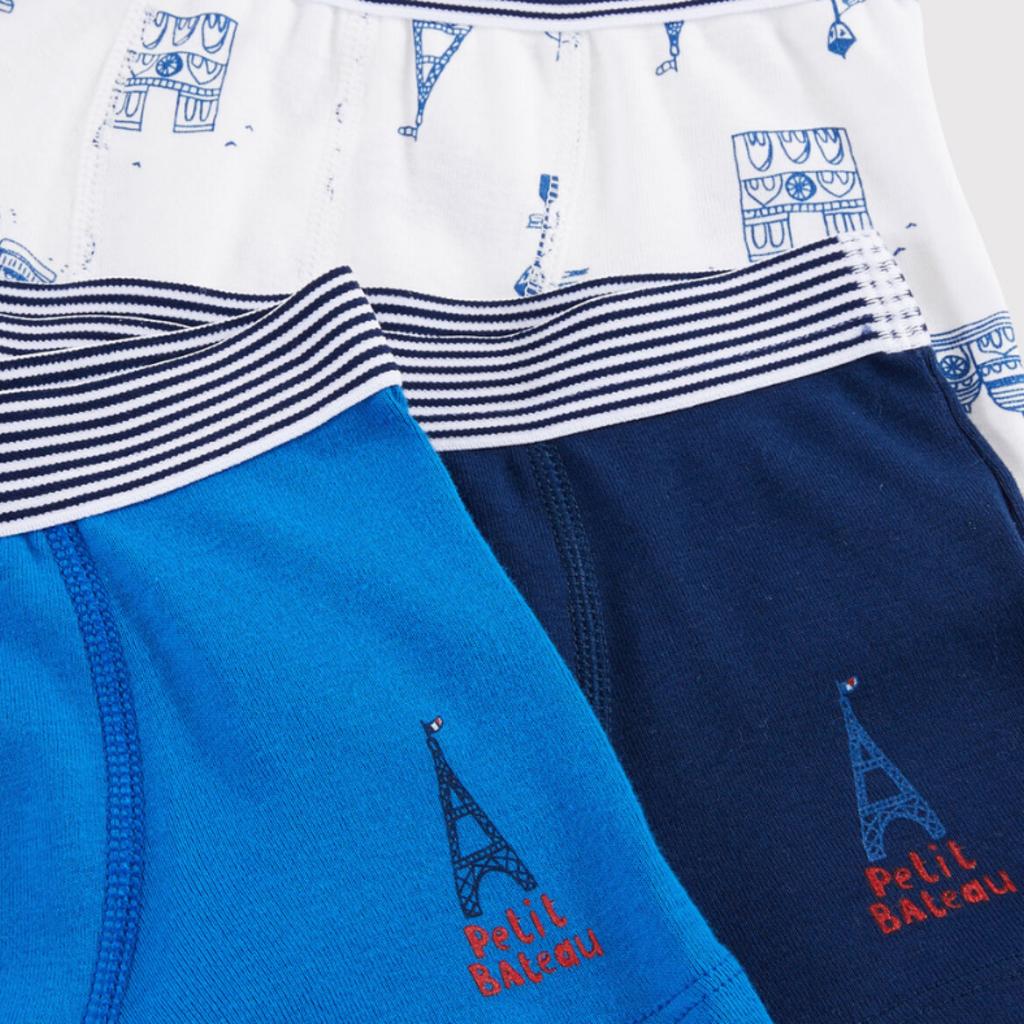 Petit Bateau Ens. 3 boxers - bleu -