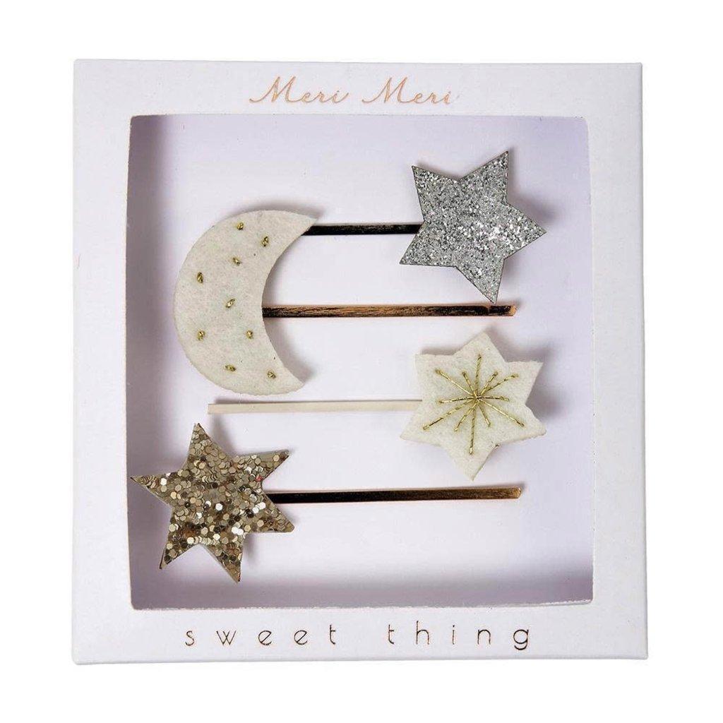 Meri Meri Moon and star - hair clips -