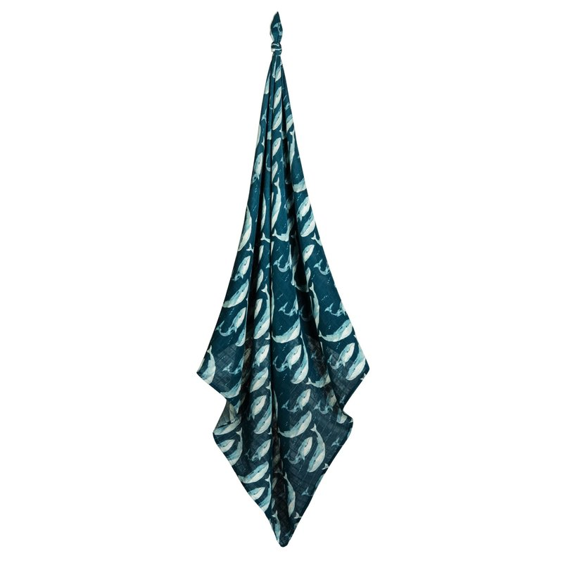 Milkbarn Couverture mousseline de bamboo - blue whale