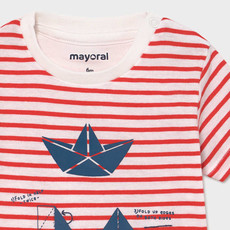 Mayoral T-shirt rayé - Rouge