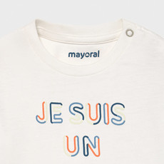"Mayoral T-shirt ""je suis"" - Blanc neige"