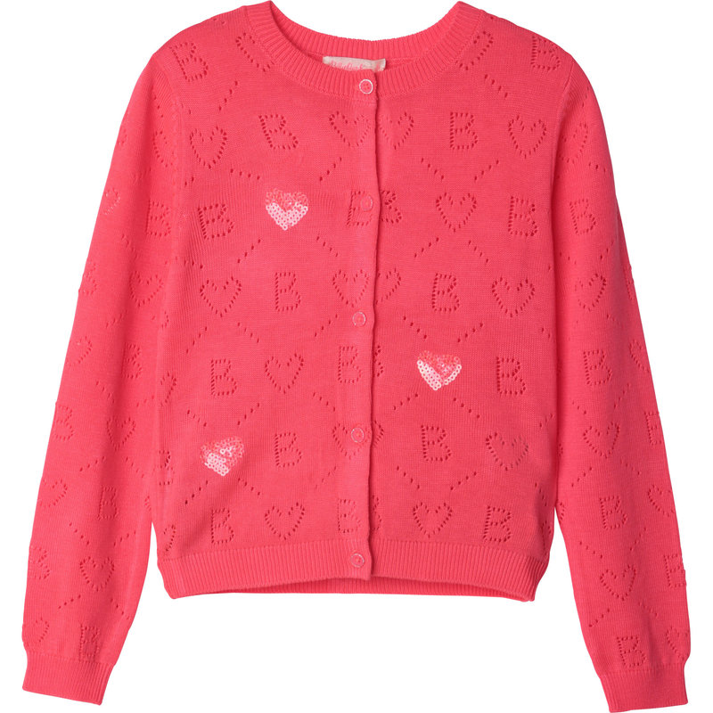 Billie Blush Cardigan jacquard motif coeur - Rose fluo