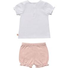 Carrément Beau Ens. Bloomer&T-shirt floral - Blanc&Rose