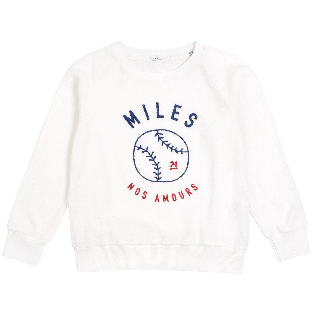 Miles Baby Pull à col rond ratine softball - blanc -