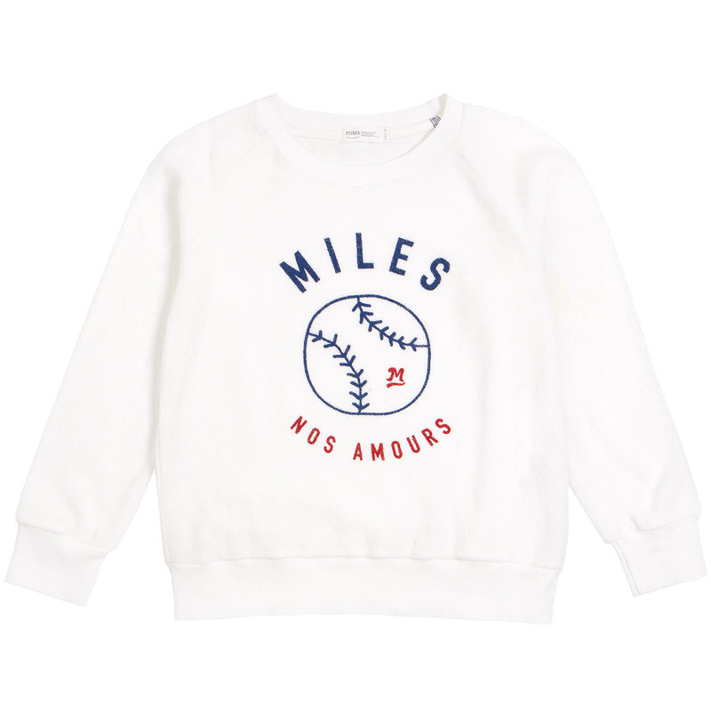 Miles Baby Pull à col rond ratine softball - blanc -