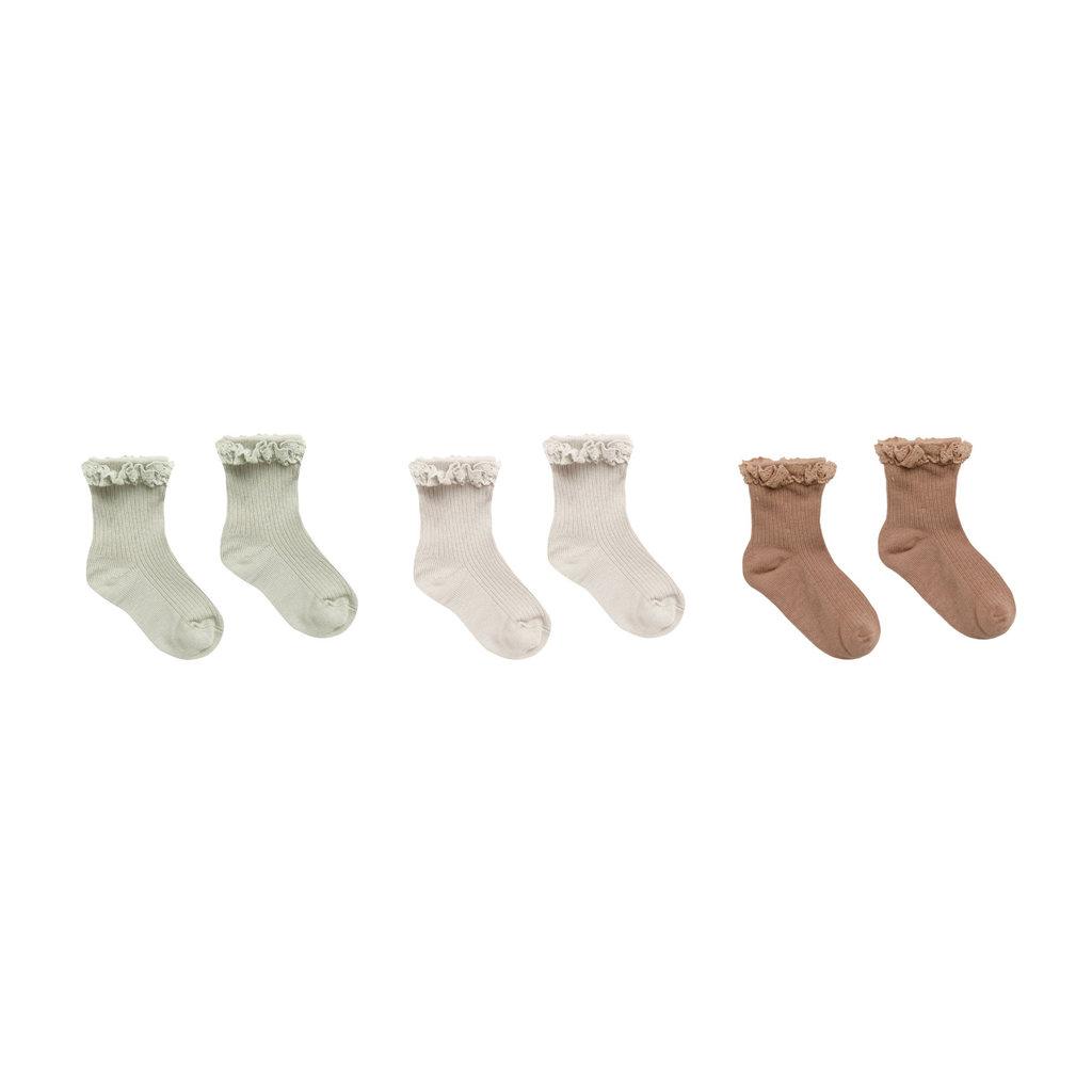 Rylee & Cru Ruffle socks - 3 paires - sage-shell-terra