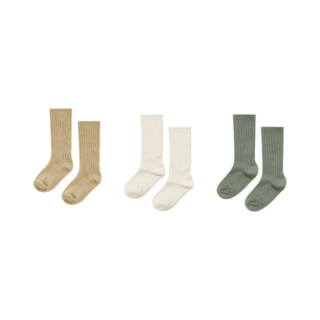 Rylee & Cru Solid ribbed socks - 3 paires - alm-nat-fern
