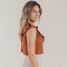 Rylee & Cru Femme Ruffled Crop Top - amber -