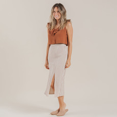 Rylee & Cru Femmes Midi skirt - natural stripes -