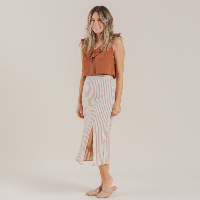 Rylee & Cru Femmes Midi skirt - natural stripes -