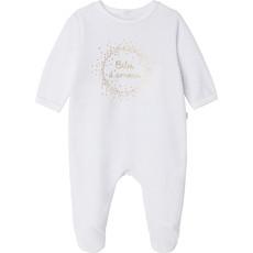 Carrément Beau Pyjama velours Bébé d'amour - Blanc&Or