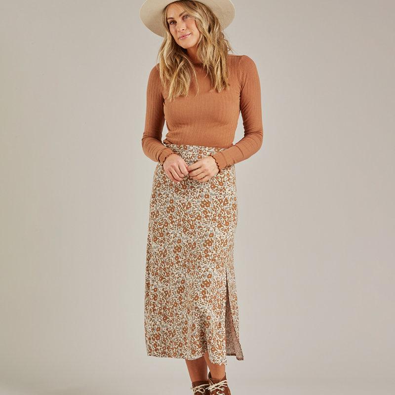 Rylee & Cru Femme - Midi front slit skirt - beige -