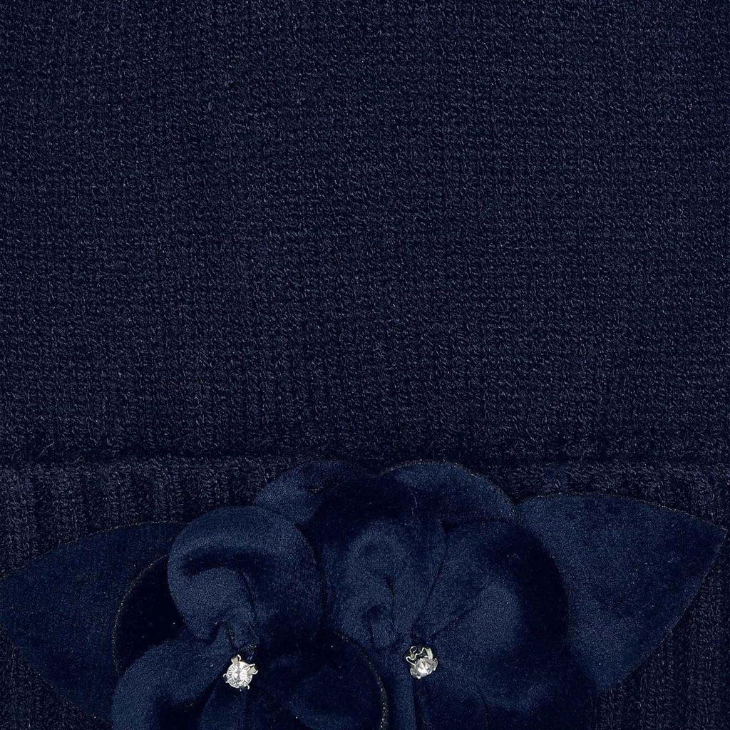 Mayoral Ens. bonnet écharpe fleur - Marine