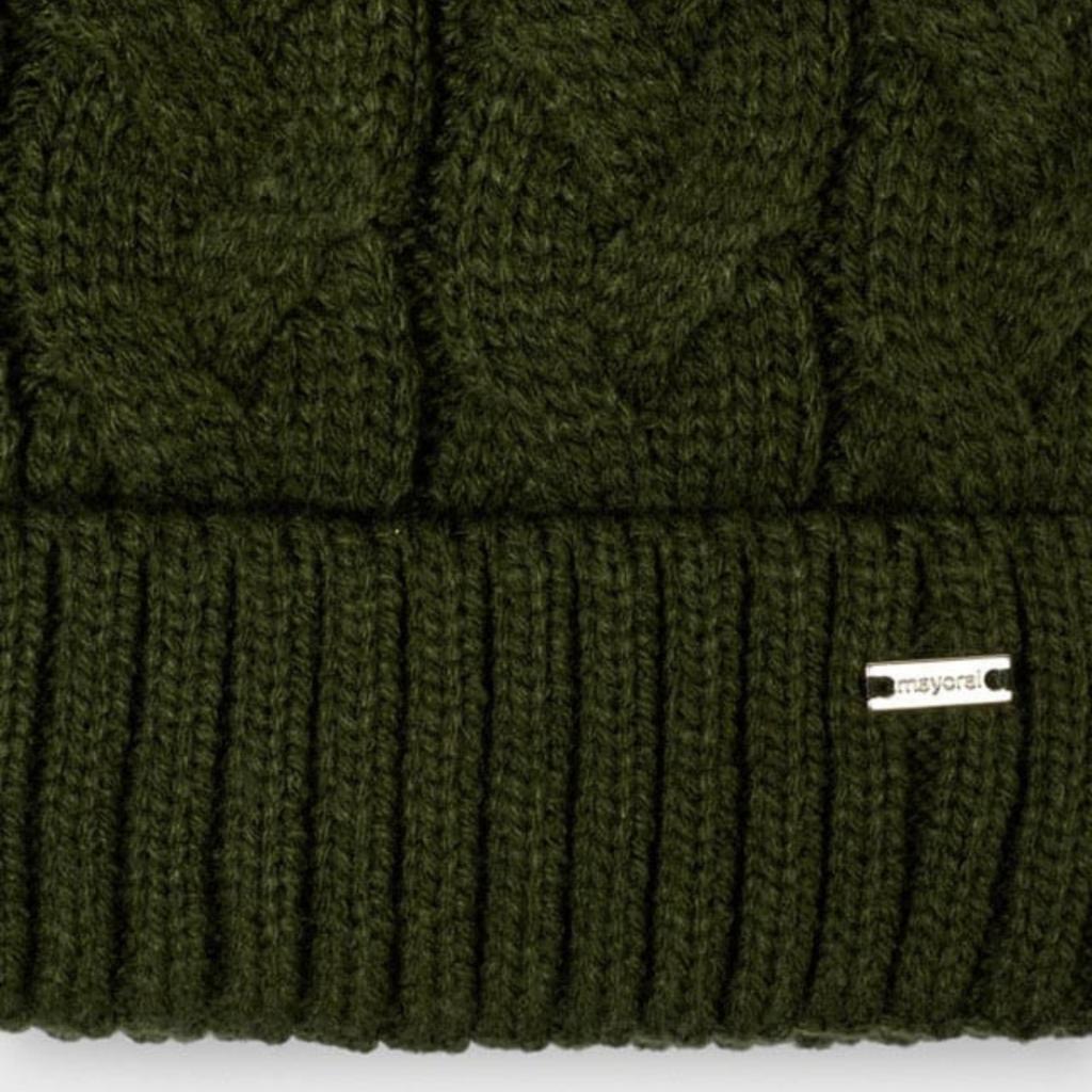 Mayoral Ens. bonnet écharpe tresses - Vert chass.