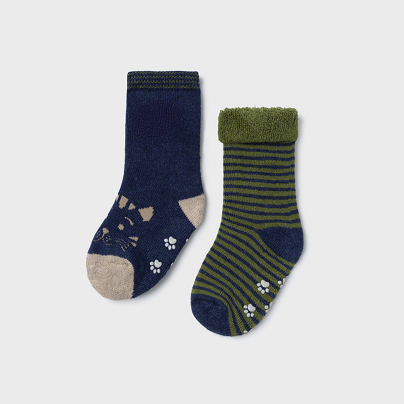 Mayoral Chaussettes antidérapantes (lot 2 paires) - Vert chass