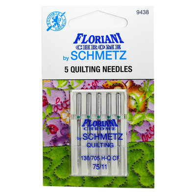 FLORIANI CHROME SCHMETZ - 5 QUILTING NEEDLES - 75/11