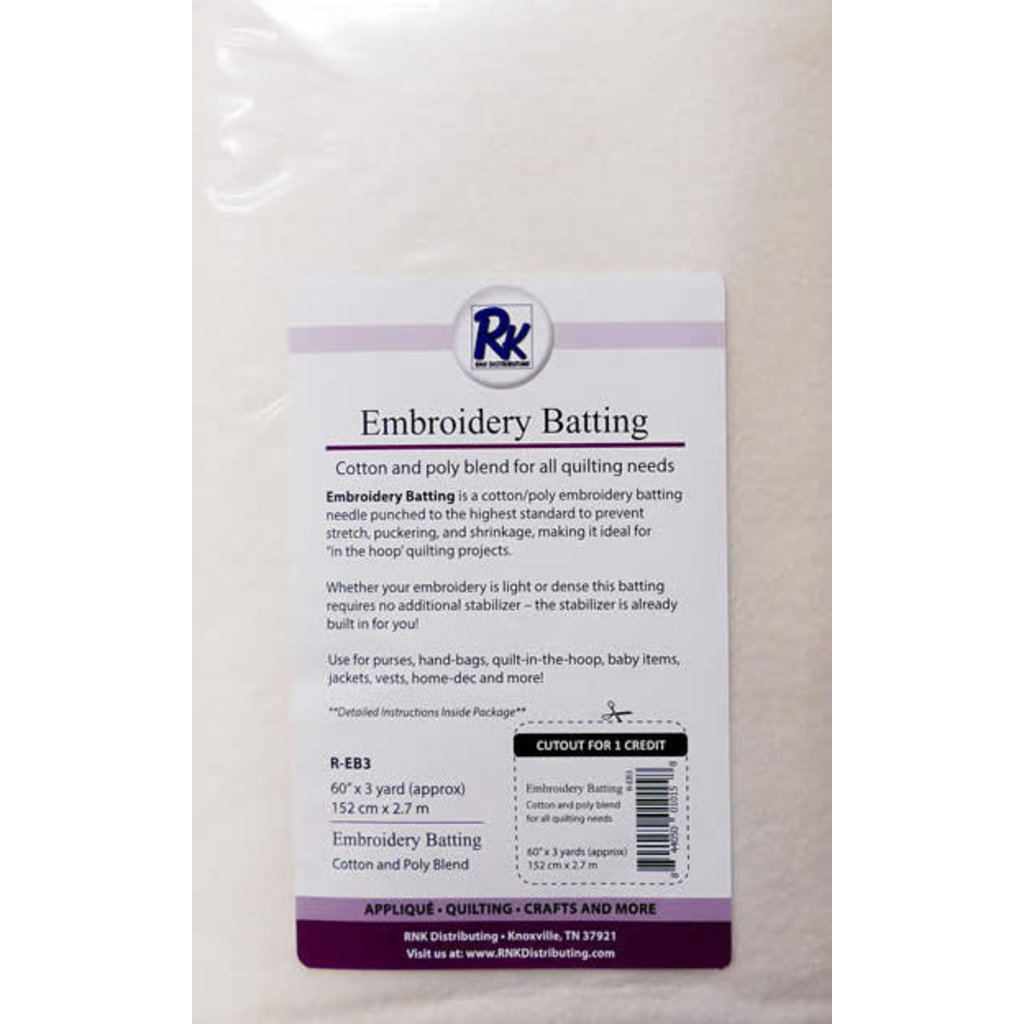 """RNK-Floriani Embroidery Batting 60"""" x 3 yards"""
