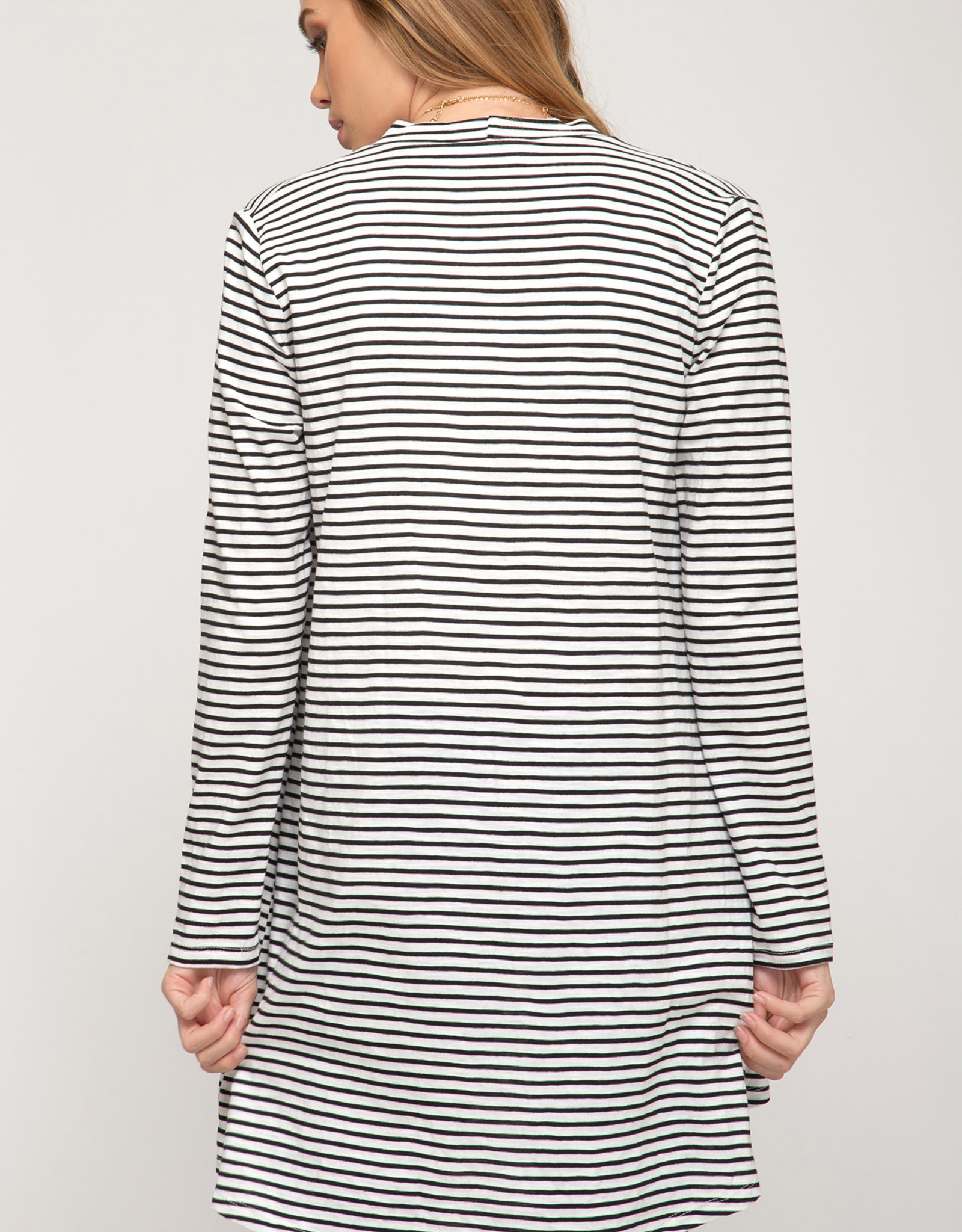 Long Sleeve Open Front Striped Cardigan