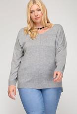 Long Sleeve Vneck Knit Sweater