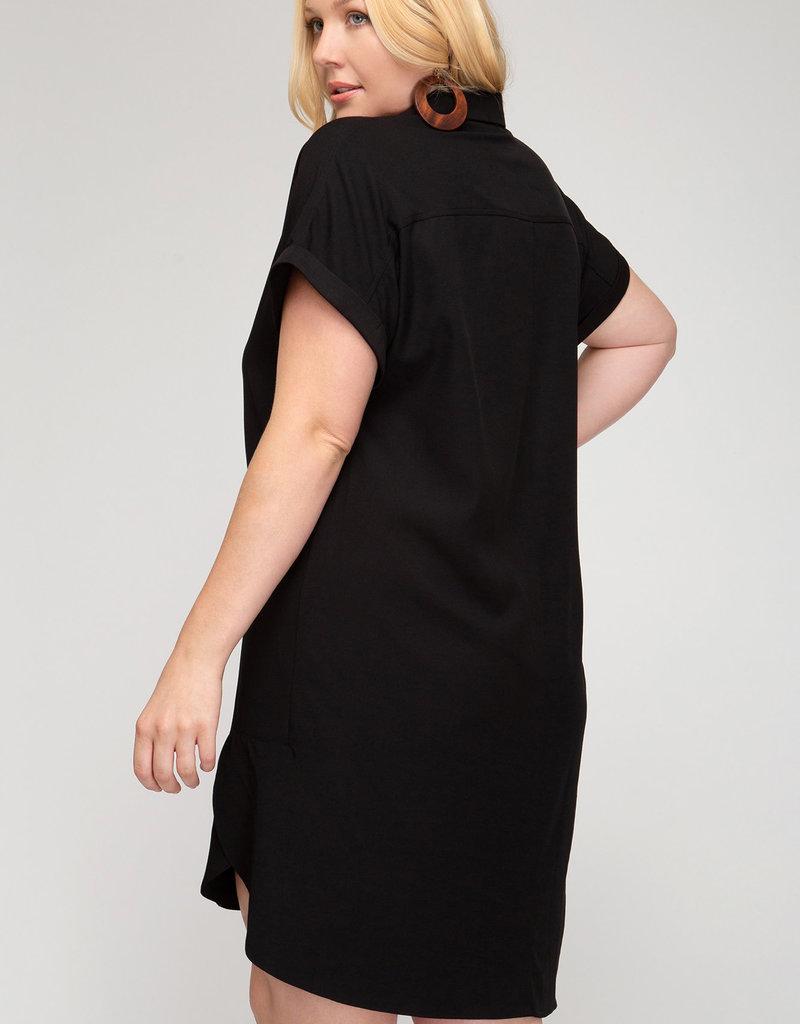 Drop Shoulder Shirt Dress