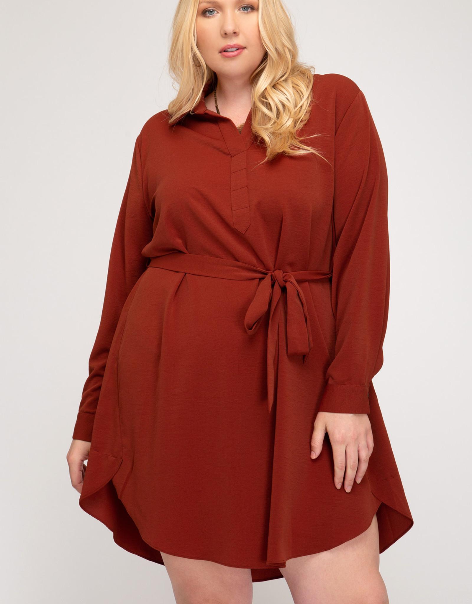 Long Sleeve Shirt Dress with Sash