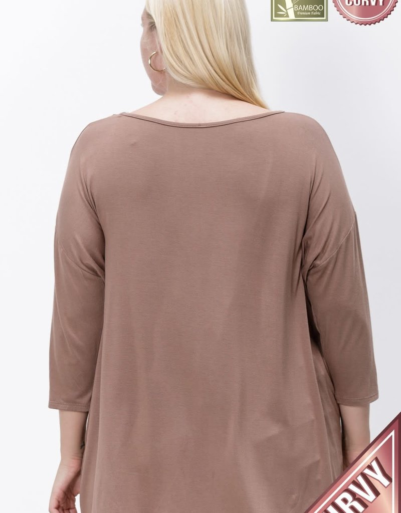 Bamboo Fabric Drop Shoulder Top (MULTIPLE COLORS)