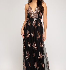 Sequin Lace Mesh Maxi