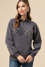 Leopard Half Zip Pullover