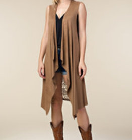 Mocha Suede With Lace Vest