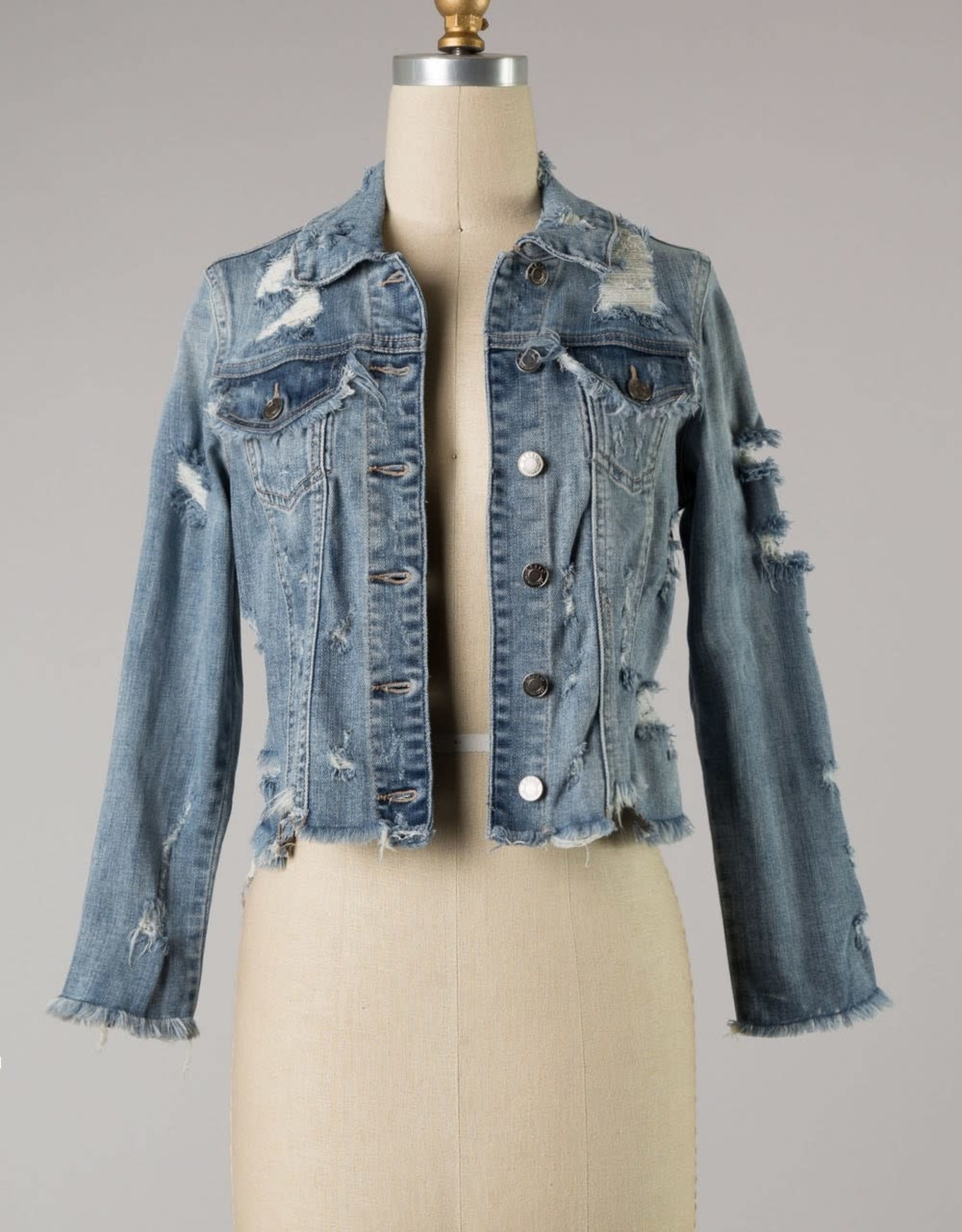 Destructed Light Denim Jacket (Extended Sizes Available)