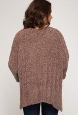 3/4 Roll Up Chenille Cable Knit Sweater