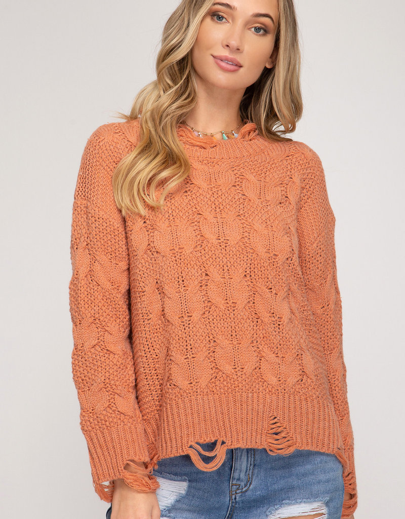 Dusty Peach Cable Knit Distressed Hem