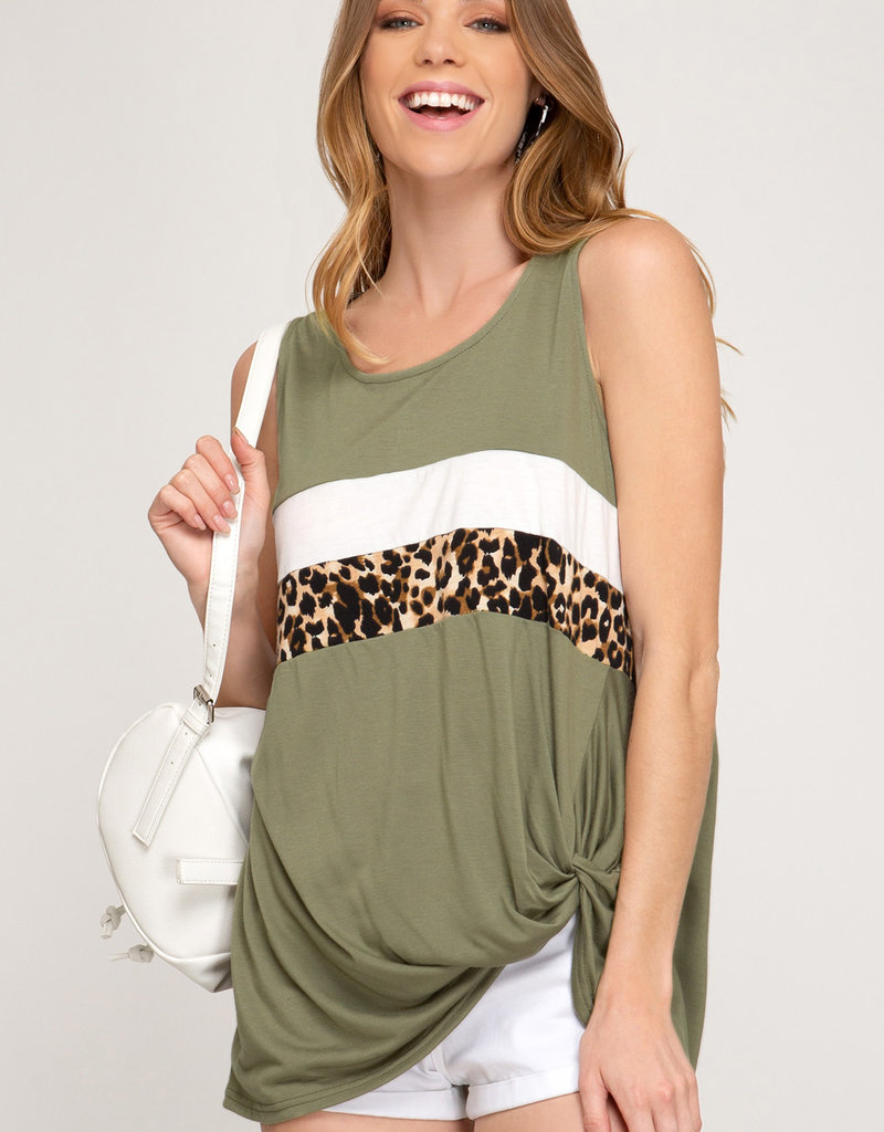Leopard Twist Color Block Tank