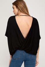 Surplice Knit Top with Crossed Open Back