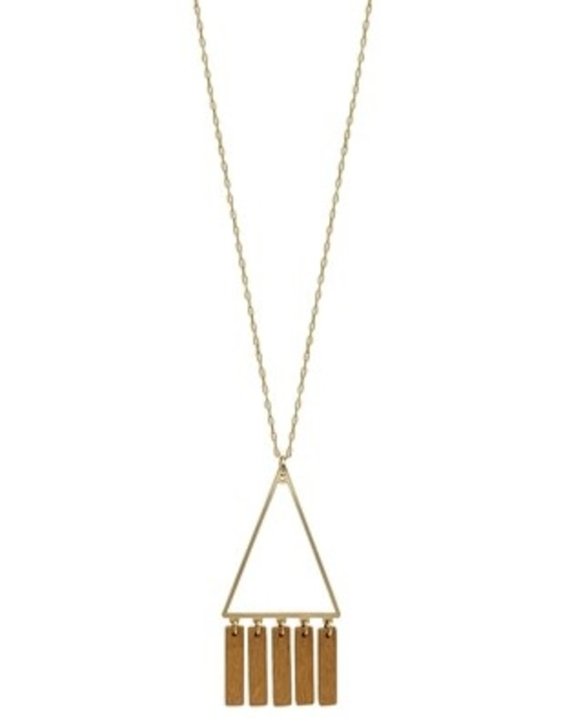 gold triangle necklace with wood tassel