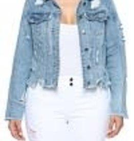 Mid Length Distressed Denim Jacket
